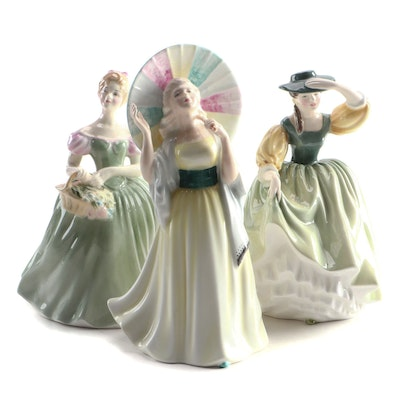 "Royal Doulton ""Clarissa"", ""Buttercup"" and ""Jane"" Bone China Figurines"