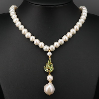 Sterling Silver Cultured Pearl and Peridot Necklace