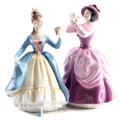 "Royal Doulton ""Lady Pamela"" and ""Leading Lady"" Bone China Figurines"