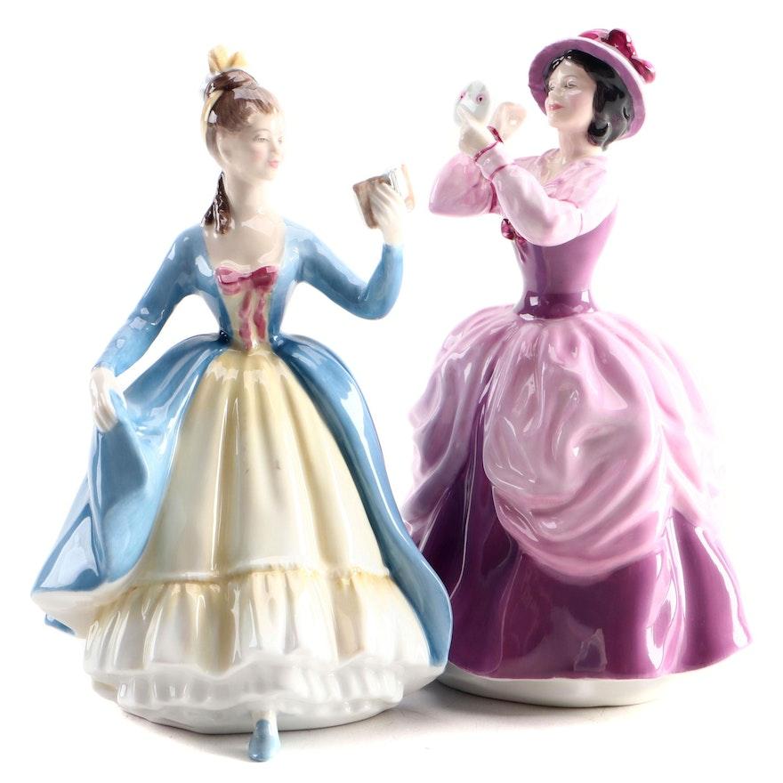 """Royal Doulton """"Lady Pamela"""" and """"Leading Lady"""" Bone China Figurines"""