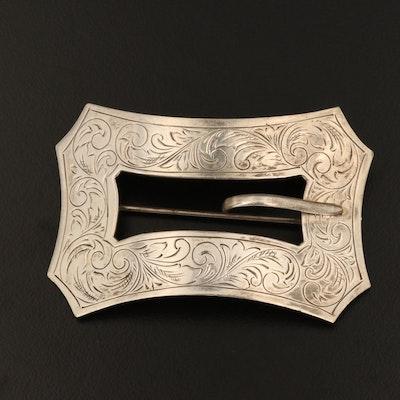 Vintage Engraved Sterling Silver Buckle Brooch