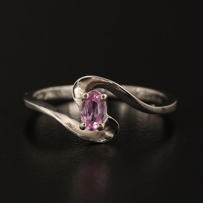 14K White Gold Pink Sapphire Bypass Style Ring