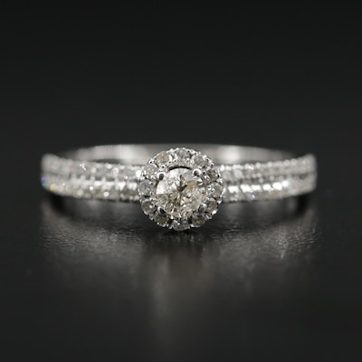 14K White Gold Diamond Ring with Euro Shank