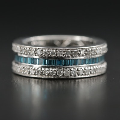 14K White Gold 1.09 CTW Blue Diamond and Diamond Eternity Band