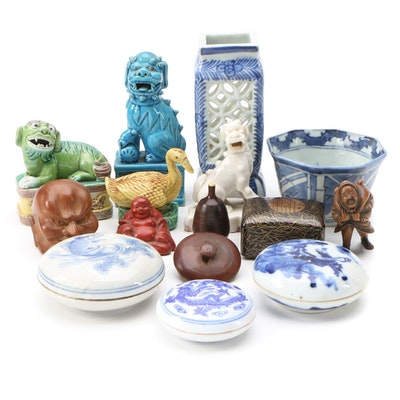 Chinese Guardian Lion Figurines with Hand-Painted Porcelain and Other Décor