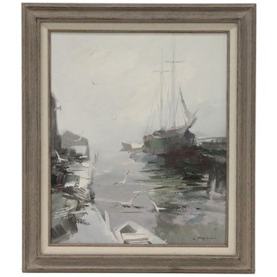 "Charles C. Gruppe Nautical Oil Painting ""Boats at Dock"""
