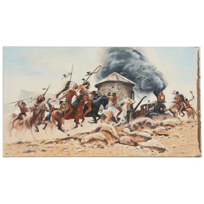 "Western Genre Oil Painting After Frank McCarthy ""The Ambush"""