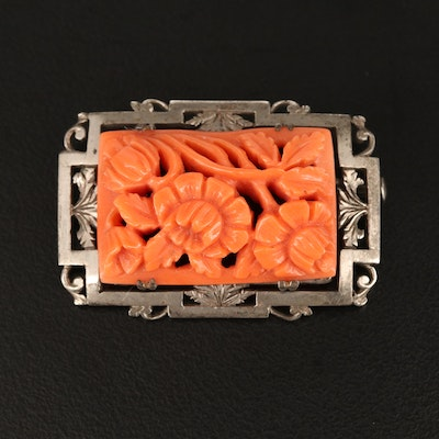 Circa 1930s Sterling Carved Coral Floral Brooch
