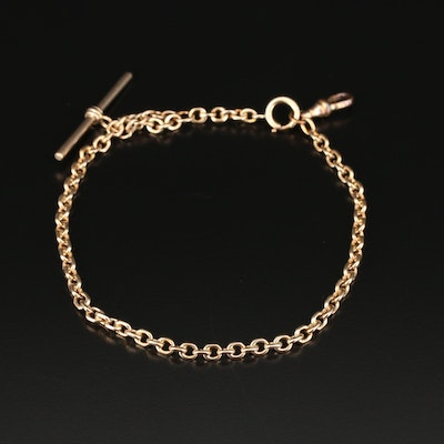 Vintage 10K Yellow Gold Watch Fob Chain