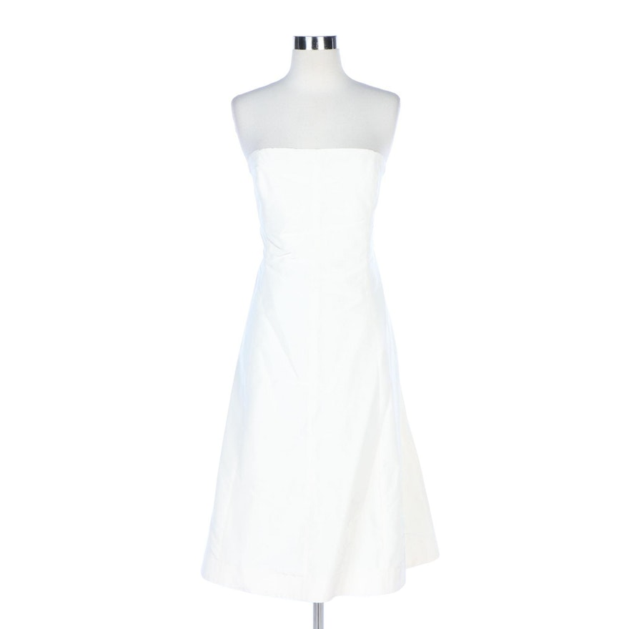 J. Crew Off-White Taffeta Strapless Cocktail Dress