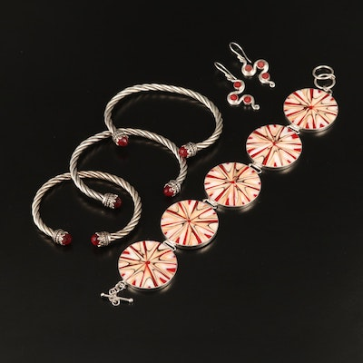 Sterling Assorted Jewelry with Glass and Shell