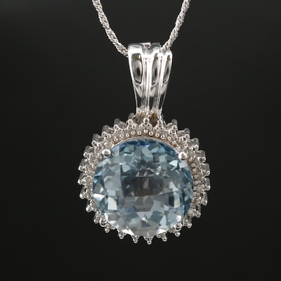 14K White Gold Topaz and Diamond Enhancer Pendant Necklace