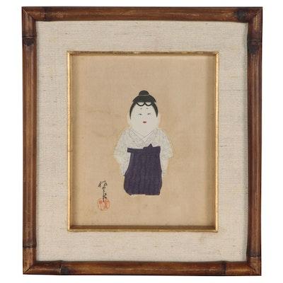 Japanese Ukiyo-e Style Woodblock of Gosho Ningyo Ichimatsu Doll, circa 1930