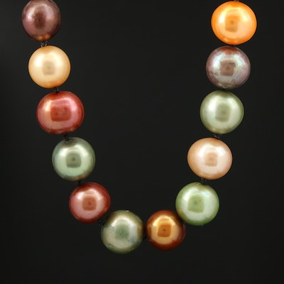 Individually Knotted Multi Colored Cultured Pearl Necklace