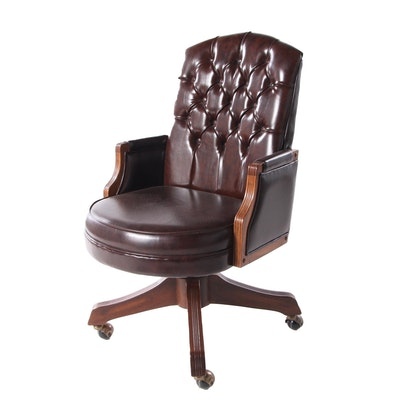 Tufted Vinyl Desk Chair, Late 20th Century