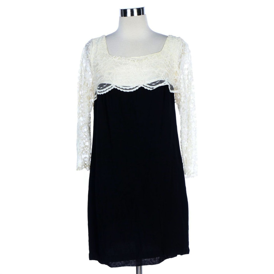 Color Block Lace Overlay Bodice Cocktail Dress, 1960s Vintage