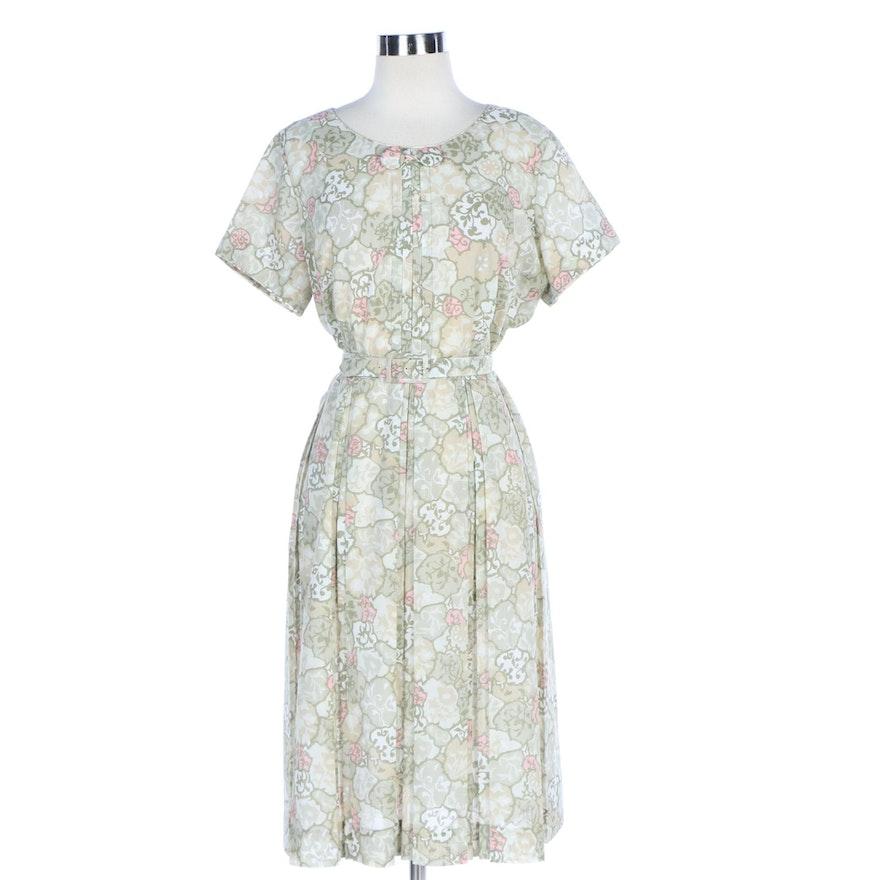 Meg Marlowe Floral Shirtwaist Dress with Belt, 1950s Vintage