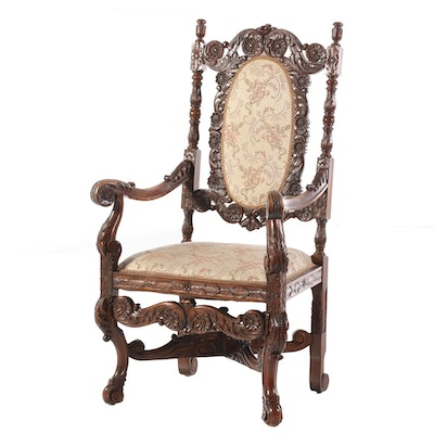 Renaissance Style Carved Walnut Arm Chair, Early 20th Century