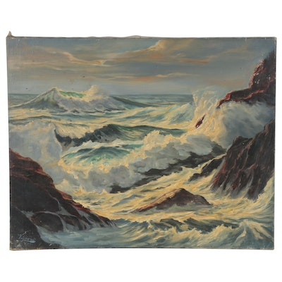 "John T. Vignari Seascape Oil Painting ""Roaring Sea"", 1959"