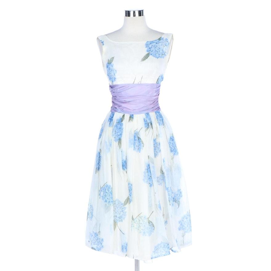 Hydrangea Print Chiffon Sleeveless Occasion Dress and Jacket Set, 1950s Vintage