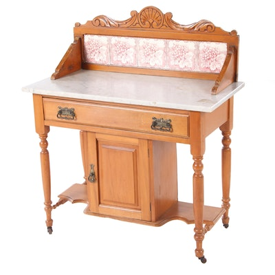 Late Victorian Washstand with Tiled Backsplash, Late 19th Century