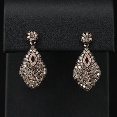 14K Yellow Gold 2.00 CTW Diamond Drop Earrings