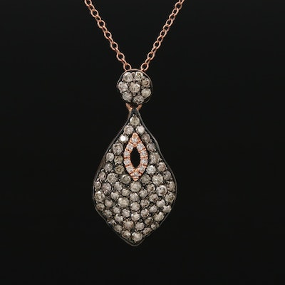 14K Rose Gold 1.00 CTW Diamond Pendant Necklace