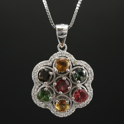 Sterling Tourmaline, Citrine and Cubic Zirconia Pendant Necklace