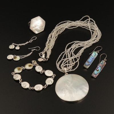 Sterling Silver Jewelry with Mother of Pearl, Abalone and Shell
