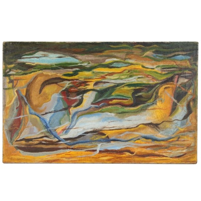 Abstract Scene Oil Painting, Mid 20th Century