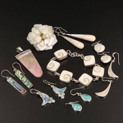 Sterling Assorted Jewelry with Shell, Abalone and Mother of Pearl