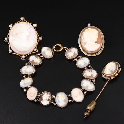 Antique and Vintage Sterling Silver and 10K Gold Assorted Cameo Jewelry