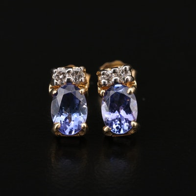14K Tanzanite and Diamond Stud Earrings