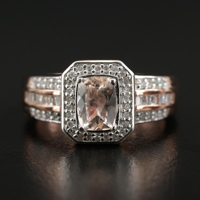 Sterling Silver Diamond and Morganite Ring