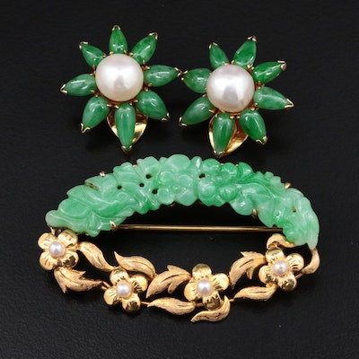 Vintage 14K Yellow Gold Jadeite and Cultured Brooch and Earrings Set