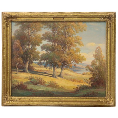 """Oil Painting Attributed to Bruce Crane """"Forest Lake, Spring Valley"""""""