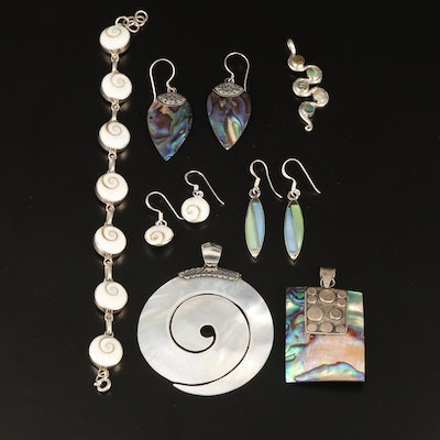 Collection of Sterling Silver Jewelry with Abalone, Mother of Pearl and Shell