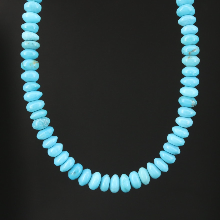 14K Gold and Turquoise Beaded Strand Necklace