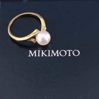 Mikimoto 18K Gold Pearl Bypass Ring