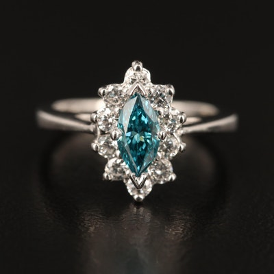 14K White Gold Blue Diamond and Diamond Ring