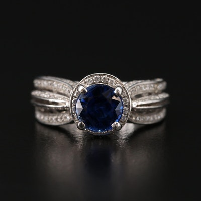 14K Gold 1.59 CT Sapphire and Diamond Ring