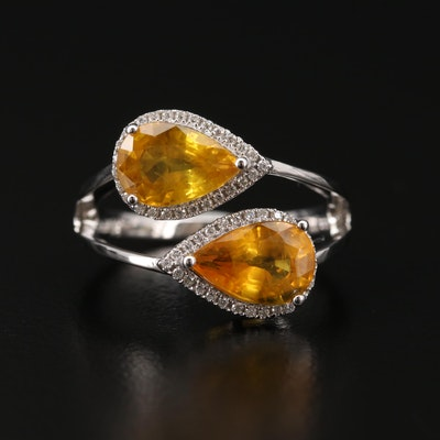 14K White Gold 3.70 CTW Yellow Sapphire and Diamond