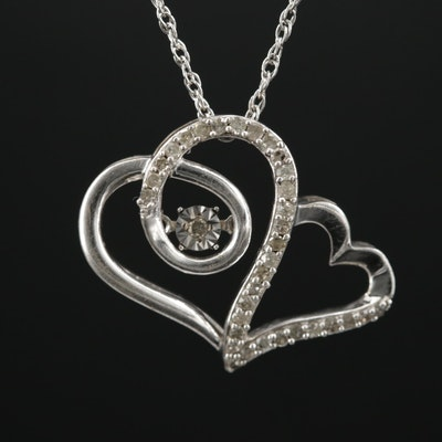 Sterling Silver Diamond Fluttering Heart Pendant Necklace