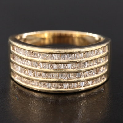 14K Yellow Gold Four Row Diamond Ring