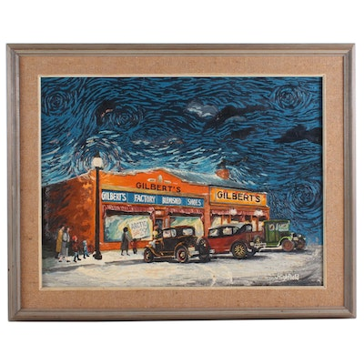 Oil Painting of Gilbert's Shoe Store