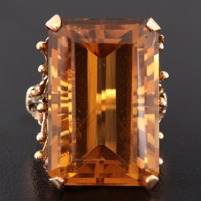 14K Yellow Gold 29.50 CT Citrine Ring