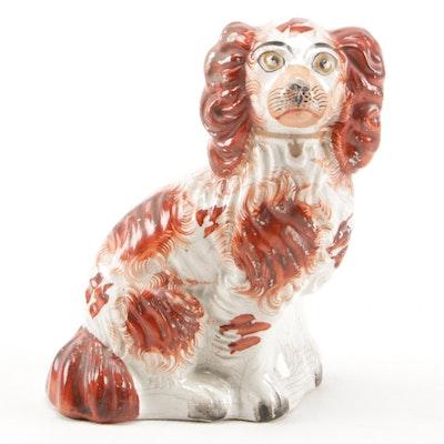Staffordshire Earthenware Red Spaniel Dog Figurine, Mid 19th Century