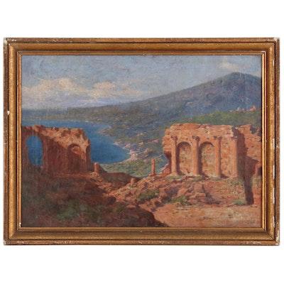"""Elmer Ellsworth Garnsey Oil Painting """"Taormina, Sicily"""", 1905"""