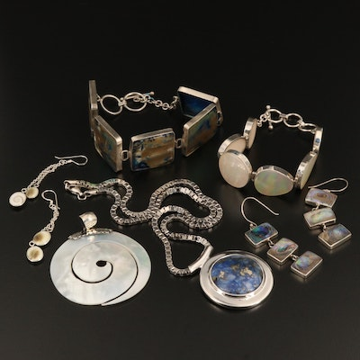Sterling Silver Jewelry Selection Featuring Lapis Lazuli, Abalone, and Shell
