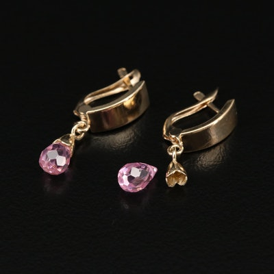 14K Yellow Gold Pink Cubic Zirconia Dangle Earrings